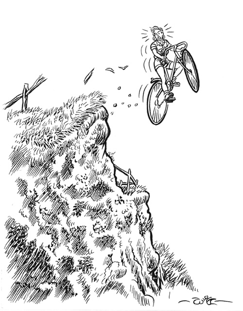 HAVE NO FEAR!  Ordering from CCNOW is not like hurtling off a cliff!  This image from Walter Parrish's Cliff sketch site--click on the image to go there!